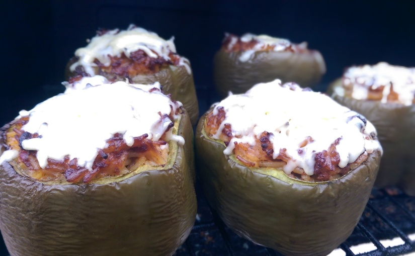 Grilled and Creamy Stuffed Bell Pepper